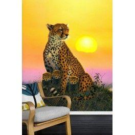 La famille guépard dans la savane au coucher du soleil