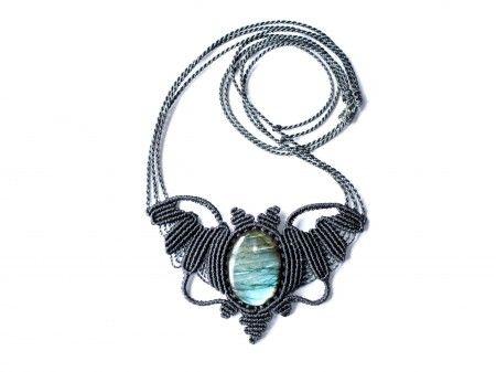Labradorite macrame bat necklace