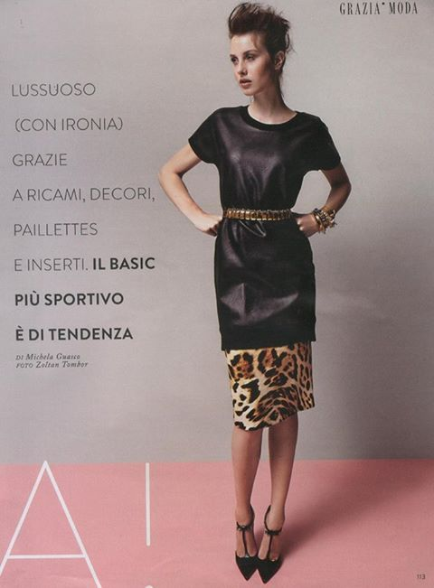 Anna Rachele animalier skirt is defined as 'pure luxury' in the October 10, 2013 issue of Italy's Grazia.