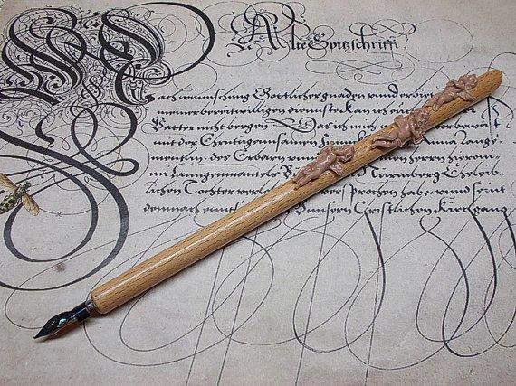 Beechen dip pen with nib. Nib holder for calligraphy.