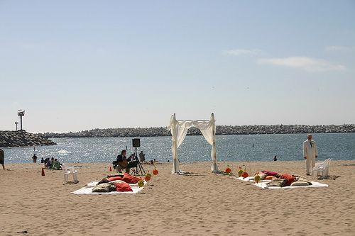 Beach Wedding Ceremony No Chairs