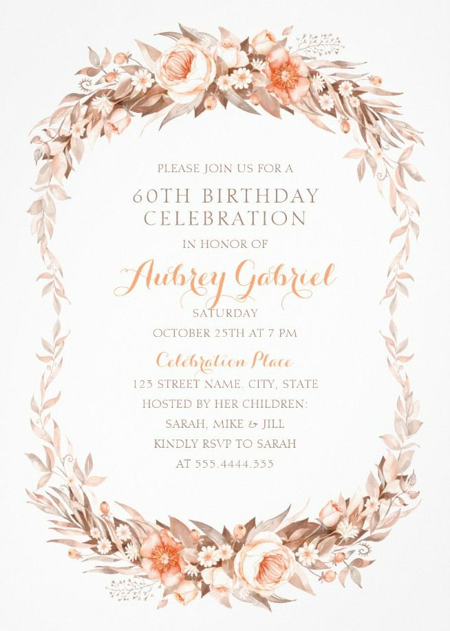 Floral Adult 60th Birthday Invitations