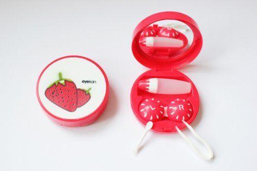 Kontaktlinsenbehälter Aufbewahrungsbehälter Etui Set Spiegel Früchte Obste NEU (Erdbeere)