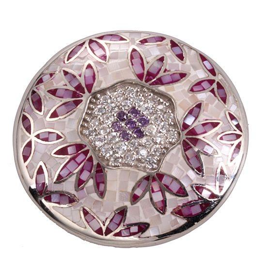 Prachtig! 1e gehalte zilveren schelp mozaiek insingnia paars en roze mozaiek en witte en paarse zirkonia's, in de vorm van bloem, 33 mm MY iMenso.
