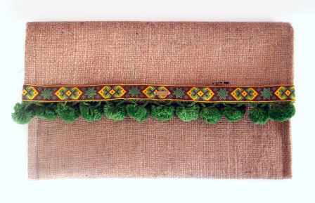 Aztec Clutch Bag. A Handmade boho chic fashion clutch bag made of sackcloth, green pon pon , and a unique with floral design from the inside!
