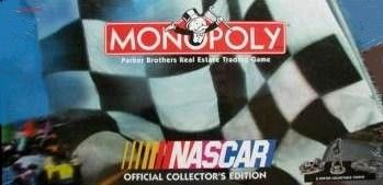 1997 Monopoly NASCAR Edition game by Parker Brothers | Don's Game Closet.  The ultimate battle for pole position in NASCAR racing...and you're in the driver's seat!  Advance to GO and the play the NASCAR edition of the world's most famous board game.  The Monopoly Brand proudly introduces a game designed exclusively for NASCAR race fans and collectors.  Buy, sell and trade NASCAR racing's hottest teams and speedways.