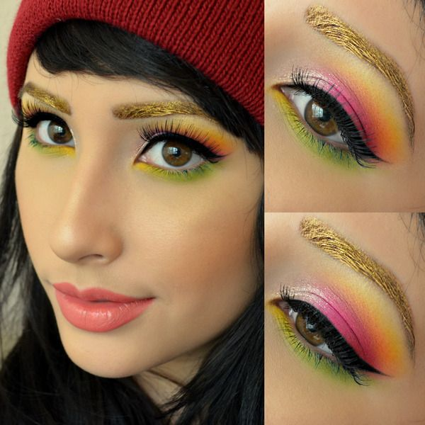 Not liking the eyebrows, but the colours of the eye makeup are so pretty