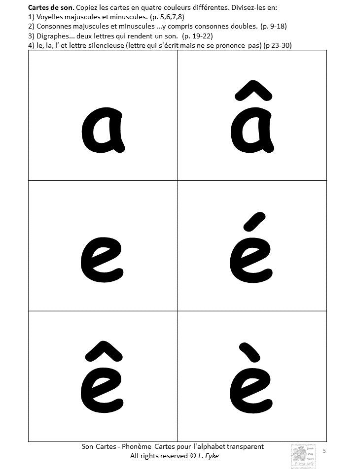 Kindergarten, Grade one or anyone learning #French: Download these consonant, vowel and digraph cards: as #flashcards to check the child's letter and sound recognition; to play match-up games; as home study cards once the sounds have been taught; to create new words on a pocket chart or flat surface (reading); to identify sounds in words (writing); to assess letter-sound knowledge. Click to learn more!  Available in PRINT Letters and SASSOON