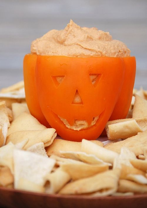 11 Healthy Halloween Treats That Are Scary Cute -  Jack-o'-Lantern Hummus Bowl