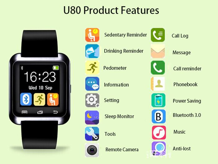 U80 Smart Bluetooth Watch Call Message Reminder Sleep Monitor-8.09 and Free Shipping  http://www.gearbest.com/smart-watches/pp_159299.html?lkid=10095367