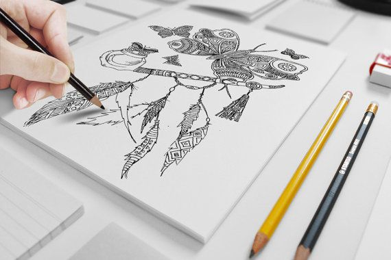 Peace Butterflies adult coloring page by ZuskaArt on Etsy