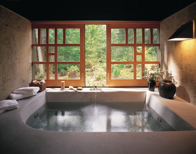 Asian-inspired bathroom with big window and bathtub in Asian-Inspired Bathroom Interior Ideas @ www.FancyFads.com