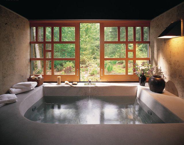 Asian-inspired bathroom with big window and bathtub in Asian-Inspired Bathroom Interior Ideas @ www.FancyFads.com