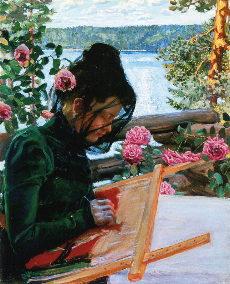 Mary Sewing in Kalela,  Akseli Gallen-Kallela. Finnish (1865 - 1931)