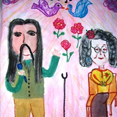 """Barış Manço, Gülpembe şarkısını ismi """"Gül Pembe"""" olan babaannesi vefat edince onun anısına yazmıştır. Bir ilkokul öğretmeni resim dersinde bu hikayeyi öğrencilerine anlatmış, ardından resim yapmalarını istemiş. Aşağıda gördüğünüz resim de o minik öğrencilerden birinin gözünden Gülpembe. Çocuklar büyüdü, adam oldu ve seni hiç unutmadı Barış Abi…  #barismanco #gulpembe"""