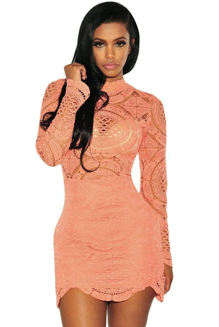 Sukienka koralowa koronkowa mini