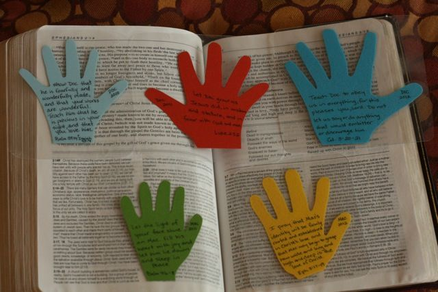 I think I've pinned this before, but I wanted to do this now, so I am reminding myself:  The mom picked a scripture for each child that she prayed for them for an entire year.  She traced their hand, wrote the scripture on it, laminated it, and placed it in her Bible.  What a great idea!