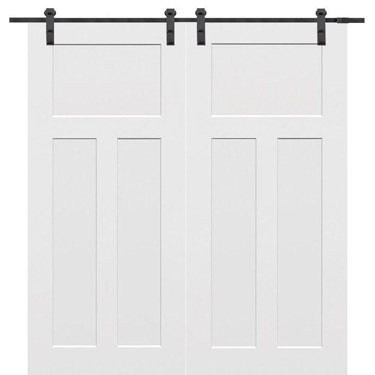 $802 60 in. x 80 in. Craftsman Smooth Composite Double Barn Door with Sliding Door Hardware Kit