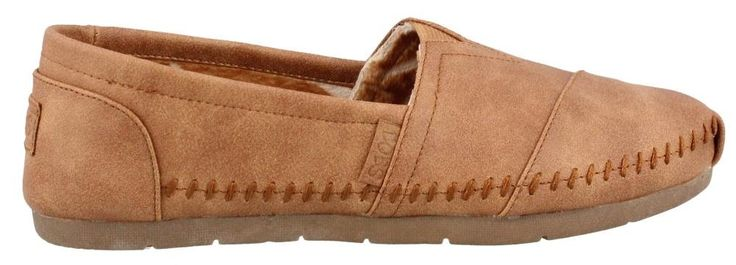 BOBS from Skechers Women's Luxe Bobs - Blue Skies Flat, Chestnut, 10 M US. Round-toe slip-on featuring pieced upper and logoed footbed.