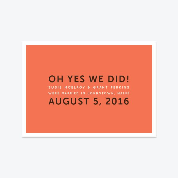 Oh Yes We Did Elopement Announcement