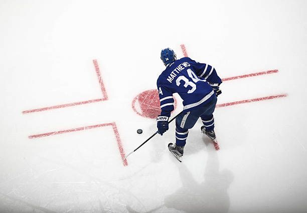Auston Matthews of the Toronto Maple Leafs stands during warm up before playing the Buffalo Sabres at the Air Canada Centre on January 17 2017 in...