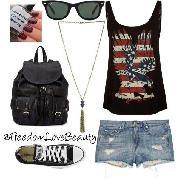 """Bad to the Bone // Path of Many Journey's"" by freedomlovebeauty on Polyvore // #polyvore #freedomlovebeauty #joanjett #kristinstewart #rockandroll #rockconcert  #concert #denimshorts #tank  #summerfestival #armparty #chucks #leather #converse #sneakers #raybans #freedomgirl #Americaneagle #Americanflag #biker #badass #chevron #ootd #style #stylish #taylorswift #kelliepickler #endlesssummer #summer #selenagomez #mileycyrus #demilovato #chopper"
