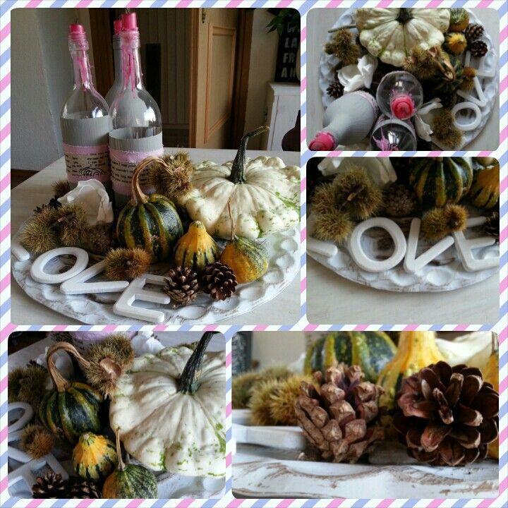 Herfst-schaal op salontafel