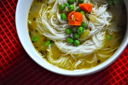 Faux Chicken Rice-Noodle Soup - Blogging Over Thyme