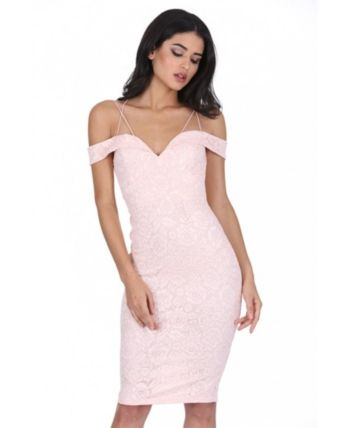 Ax Paris Off the Shoulder Strappy Lace Midi Dress – Off-white