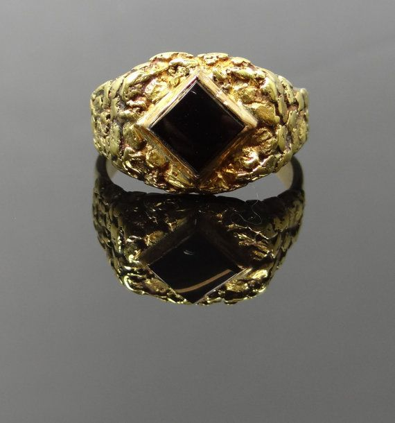 Unique and Funky Gold Nugget 22K Top Mens Onyx Ring  by MSJewelers, $2065.00