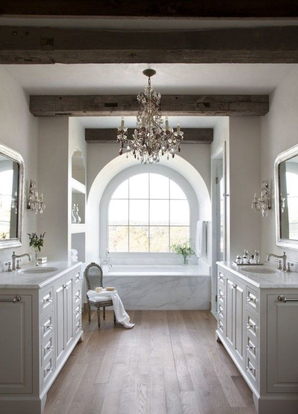 Light and airy without the chandelier and make one sink side a vanity and have two sinks on one counter downstairs bath