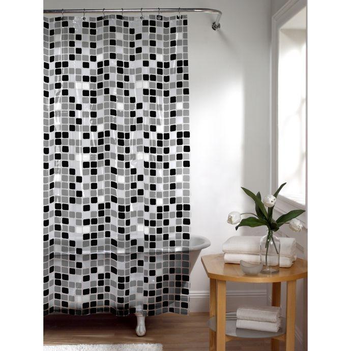 Tiles Shower Curtain In Black White Vinyl Shower Curtains Black Shower Curtains Shower Tile