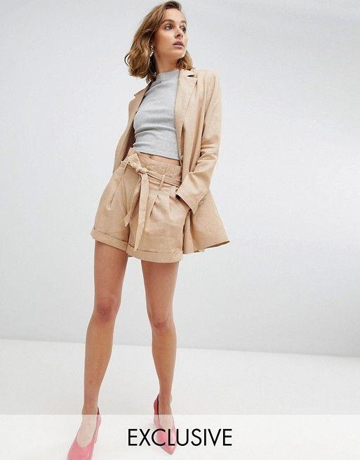 67246695b45 Unique 21 high waist linen shorts co-ord