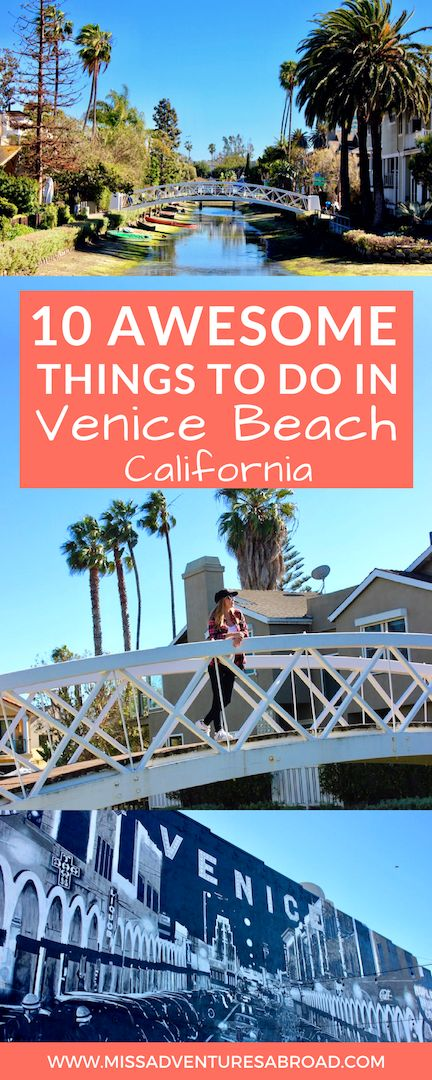 10 Cool Things You'll Want To Do In Venice Beach, California · Venice Beach, California is known for its unique canals and eclectic bohemian vibes and street performers. Discover the top 10 things to do in Venice Beach. From strolling the Venice Beach Boardwalk to checking out Muscle Beach and local street art, and of course the city's iconic canals, you are sure to find something awesome to do in Venice, California!