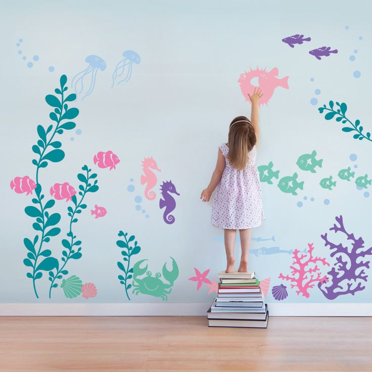 """Create an underwater sea aquarium in your baby nursery or kids playroom with our Under the Sea wall decals. Introduce your child to the wonders of marine life. Size: Overall Size (approx): 141""""w x 96"""""""