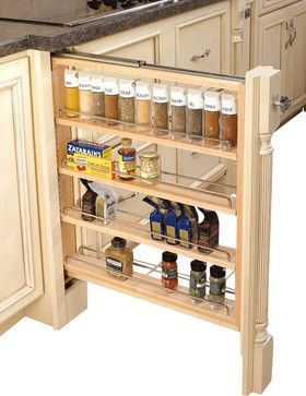 """Rev-A-Shelf 432-BF-3C 3"""" Wood Base Cabinet Pullout Filler w/ Adjustable Shelves contemporary-cabinet-and-drawer-organizers"""