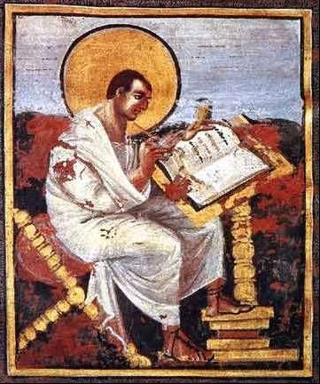 Saint Matthew, Coronation Gospels, ca. 800-810
