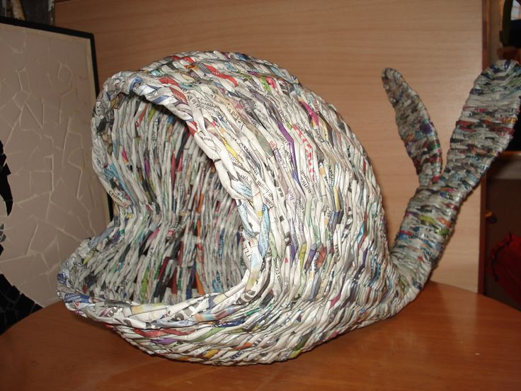 Whale basket from newspaper