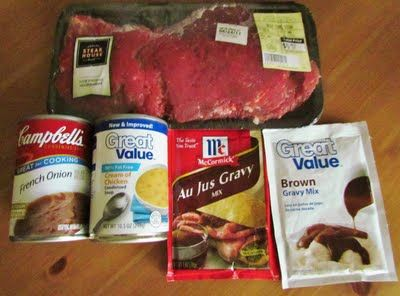 Slow Cooker Cube Steak with Gravy   Ingredients:  1 ½-2 pounds Cube Steak  1 package Brown Gravy Mix  1 package of Au Jus mix  1 Can Cream of Chicken Soup, low sodium (or Cream of Mushroom Soup)  1 Can French Onion Soup, low sodium  1 Can of Water  low for 6-8 hours
