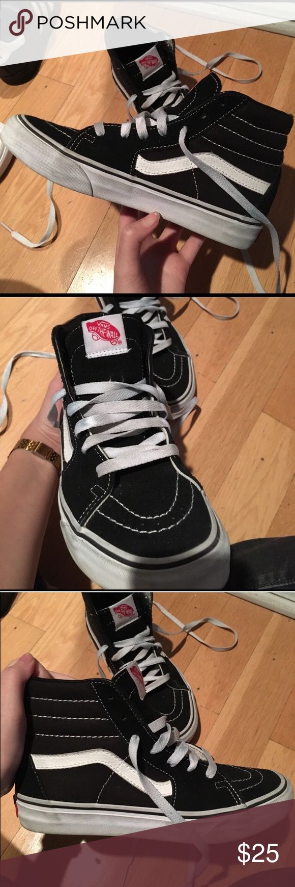 Vans Sk8-Hi Black Vans Sk8-Hi, worn, I'm trying to make at least $20 for these in my actual earnings PRICE FIRM, women's 7 men's 5 Vans Shoes Sneakers