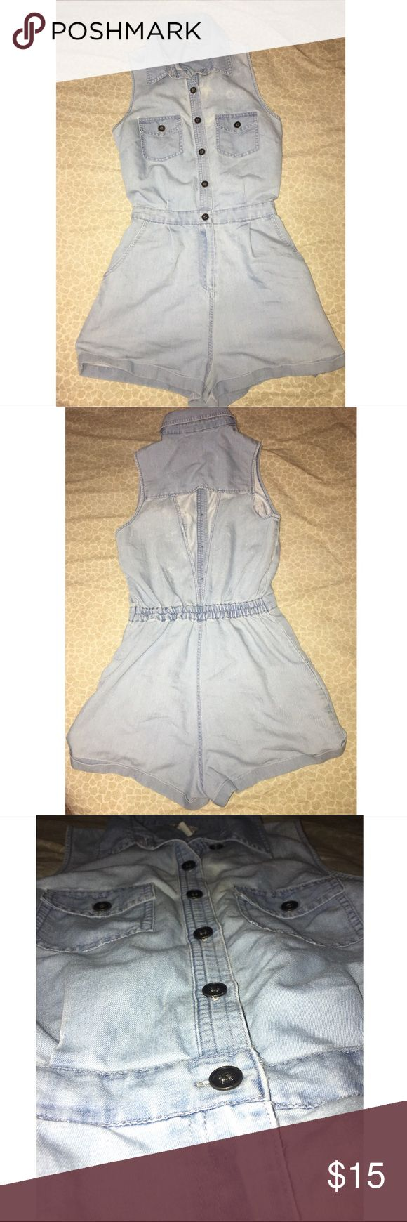 Forever 21 jean romper Forever 21 light-wash jean romper. Has a triangular cut out design on the back. Size small. Forever 21 Pants Jumpsuits & Rompers