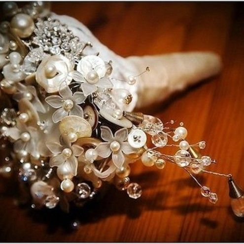 Alternative Wedding Bouquet - Buttons and Beads - Bridesmaid bouquets