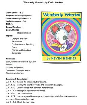 Wemberly Worried - by Henkes- First Day of... by Mrs Lena   Teachers Pay Teachers