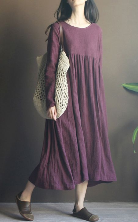 Casual and elegant. Vitange with it's gorgerous hem. Purple long sleeve linen maxi dress sundresses plus size linen clothing