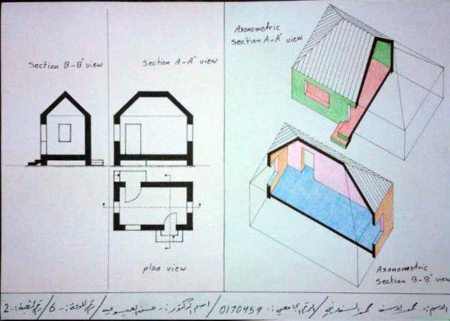 Mohammad Al Sfarini لوحة6: اسقاطات عمودية وقطاعات اكسنومترية لبيت بسقف مائل باربع طيات