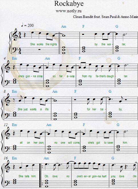 Clean Bandit & Anne-Marie — Rockabye Download PDF Piano Sheet Music