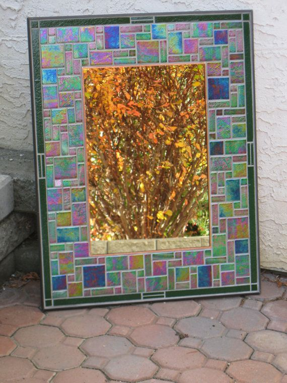 Large Mosaic Mirror with iridescent glass tiles by RockinMosaics, $450.00