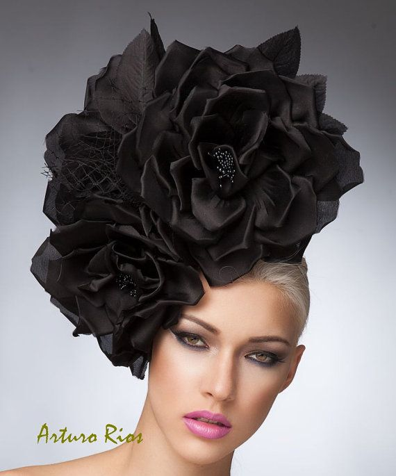 Couture Black Silk roses headpiece with veil Black by ArturoRios