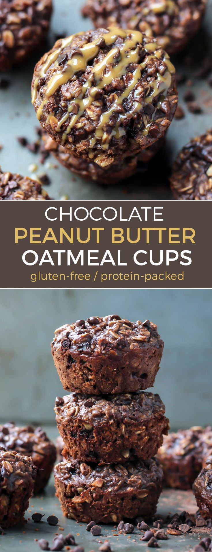 Chocolate Peanut Butter Baked Oatmeal Cups with protein. Gluten-free and 13g protein.