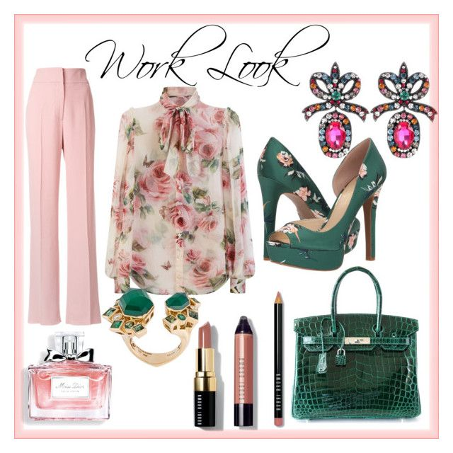 """""""Work Look"""" by styles-bykim on Polyvore featuring Dolce&Gabbana, Rochas, Jessica Simpson, Hermès, Stephen Webster, Gucci, Christian Dior and Bobbi Brown Cosmetics"""